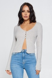 Long Sleeve Open Front Button up Knit Cardigan Crop Top.