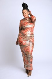 Plus Size Thong detailed Printed Maxi Dress.