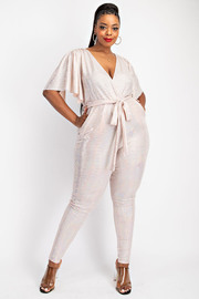 Plus Size Ruffle sleeve jumpsuit with tie belt.