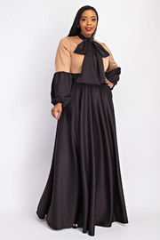 Plus Size Balloon sleeve maxi Dress with neck tie.