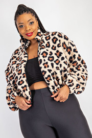 Plus Size Leopard Teddy jacket with pockets.