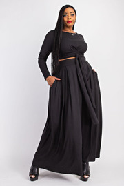 Plus Size Wrap round Top and Maxi Skirt set.