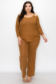 Plus Size Melange Sweater knit fabric cut out on shoulder top and straight leg pants sets.