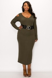 Plus Size Rib fabric cold shoulder long sleeves midi dress with belt.