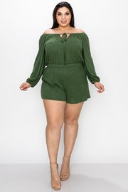 Plus Size Melange stretch knit plus romper