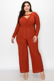 Plus Size Surplice and cut out neck long sleeve, straight leg Jumpsuit.