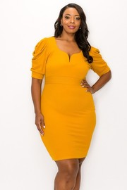 Plus Size V wired on bust inside and shirring on sleeves bodycon plus dress