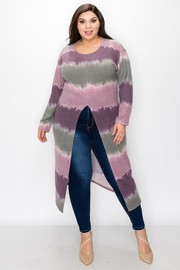 Plus Size Cashmere round neck long sleeves split open front tunic top