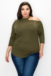 Plus Size mock neck and cut out shoulder 3/4 sleeves plus top