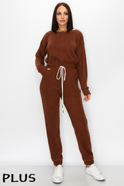 Plus Size 2 Pcs Set. Knit Long Sleeve Top & Pants Set.