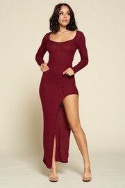 Knit Long Sleeve Slit Maxi Dress. Cashmere Rib Fabric.