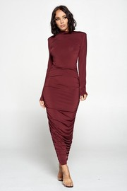 Solid Long Sleeve Long Dress.