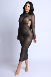 Glittered mesh Openback thong Maxi Dress.