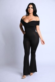 Off shoulder bell bottom jumpsuit