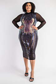 Plus Size Sequins Midi Dress.