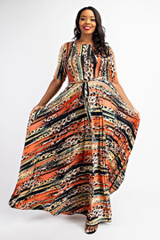 Plus Size Boat Neck Short Sleeve Maxi Dress.