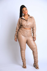 Plus Size Peal Latex ruched Set.