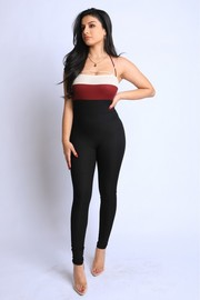 Color Blocked Rib Jumpsuit.
