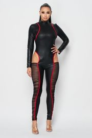 Pu Long Sleeve Sexy Jumpsuit with mesh detail.