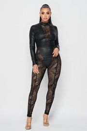 Pu Long Sleeve Jumpsuit.
