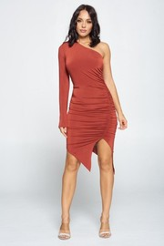 Solid One Shoulder Shirring Dress.