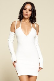 So Sweet Strappy Cold Shoulder bodycon mini Dress.