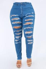 Plus Size Highrise Curvy Skinny Jeans Front & Hip Destroyed.