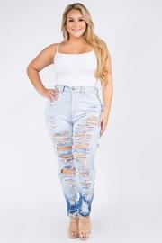 Plus Size High rise Curvy skinny jeans, Front & Back side heavy destroyed