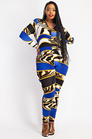 Plus Size Mock Neck Zip Front Jumpsuit.