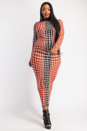 Plus Size Mock Neck fitted midi Dress.