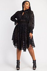 Plus Size Smocked Waist Dress with Ruffle Neck.