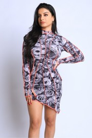Flower Printed contrast stitch detailed dress.