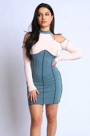 Colorblocked Cold shoulder Dress.