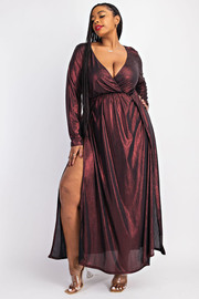 Plus Size Foil Surplice Maxi Dress with Front Slits.