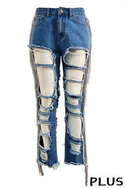 Plus Size Distressed Denim Jean.