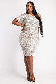 Plus Size Sequins Off Shoulder Dress with Ruched Sides.