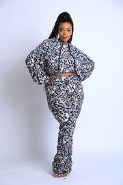 Plus Size Brushed terry ruched Set.