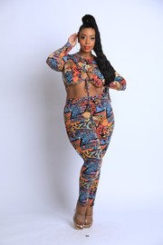 Plus Size Printed tide front crop top set.