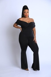 Plus Size Off shoulder bell bottom jumpsuit.