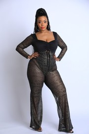 Plus Size Glittered Mesh Jumpsuit.