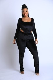 Plus Size Velvet lace up detailed bodysuit with leggings Set.