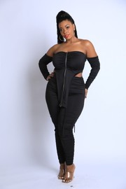 Plus Size Ruched detailed off shoulder strappy Set.