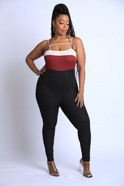 Plus Size Color blocked rib jumpsuit.