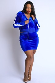 Plus Size Veltvet hoodie jacket & Mini Skirt Set.