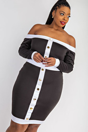 Plus Size Off Shoulder button front Dress.