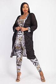 Plus Size Tube Jumpsuit and mesh Cardigan Set.