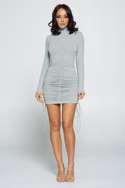 Solid Long Sleeve Shirring Mini Dress.