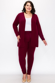 Plus Size Solid Long Sleeve Cardigan Pant Set.