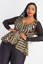 Plus Size Sequins Peplum zip front Jacket.