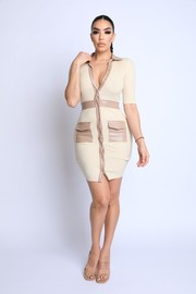 PU Contrast Ribbed Dress.